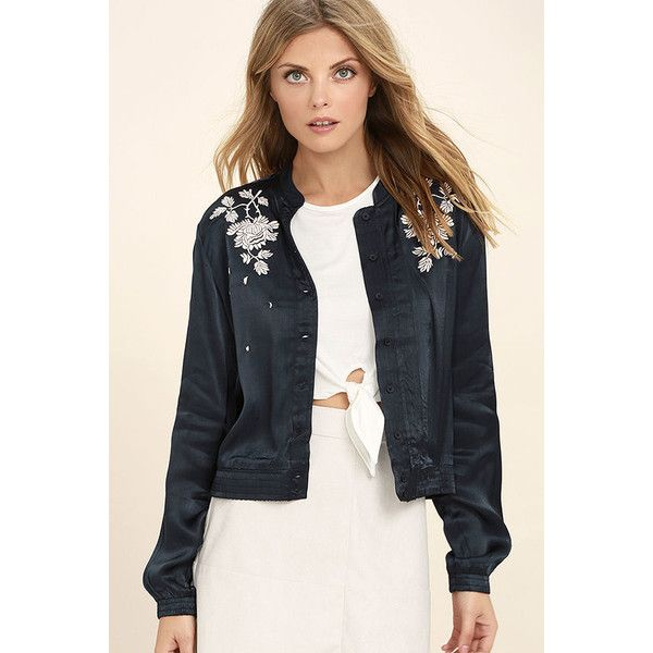 Obey Ty Navy Blue Satin Embroidered Bomber Jacket ($47) ❤ liked on Polyvore featuring outerwear, jackets, blue, satin bomber jacket, blue bomber jacket, navy bomber jacket, light weight jacket and navy blue jackets