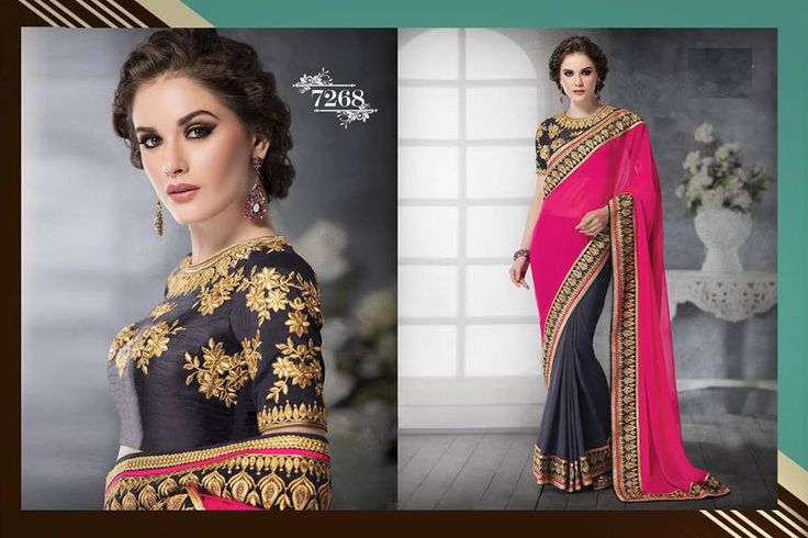 Dazzling Pink and Grey Bollywood Saree Online