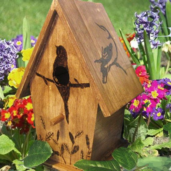 Rustic Hand Wood Burned Birdhouse Hands Etsy And Birdhouses