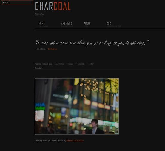 This free Tumblr theme features a dark design with red and white accents and interesting typography.