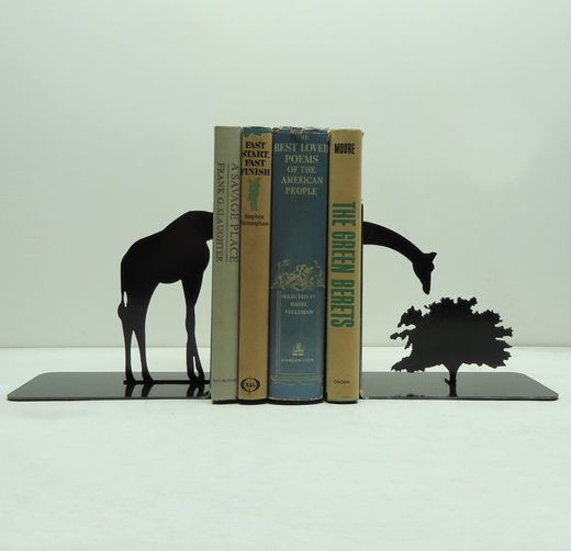 This set of bookends is handmade and designed by Knob Creek Metal Arts. Made from solid steel, these bookends are heavy enough to hold up your reading collection. Sold in a set of two pieces, finished in hammered black.