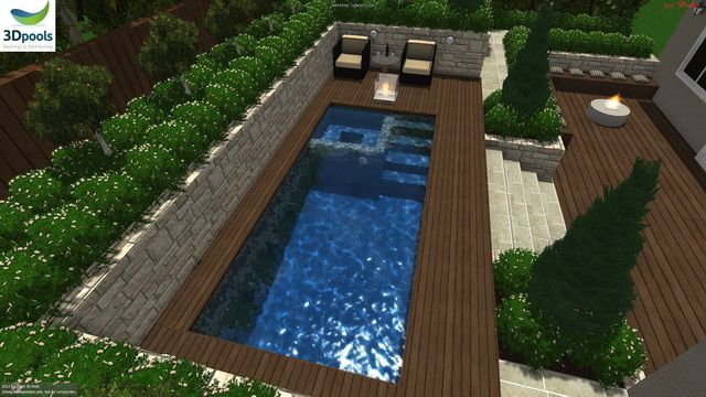 Plunge pool with a spa & timber decking. Buy this pool design and many more stylish designs at www.3d-pools.com.au
