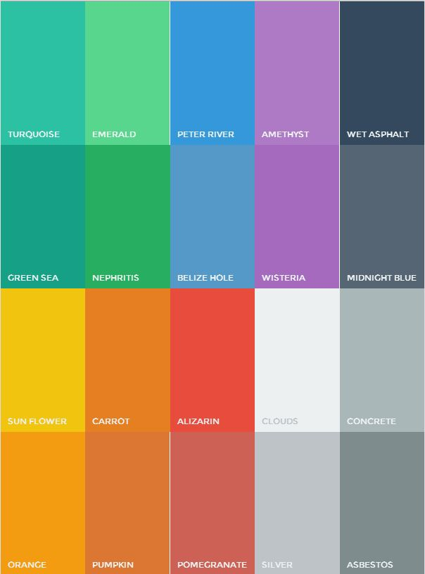Flat UI Colors - http://flatuicolors.com/