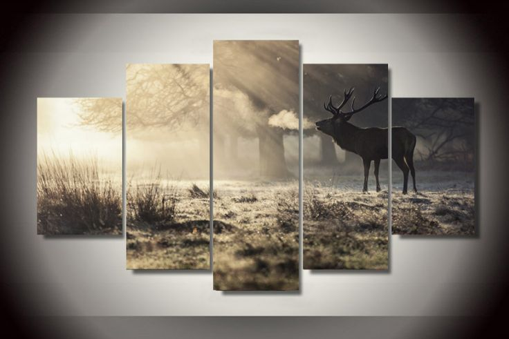 5 Pieces Multi Panel Modern Home Decor Framed Deer Wild Animal Scenery Wall Canvas Art