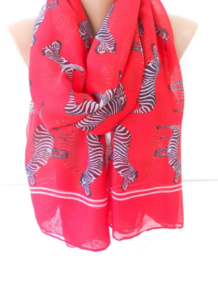 Soft Cotton Scarf Zebra Red Scarf Shawl Oversize Scarf  www.scarfclub.net
