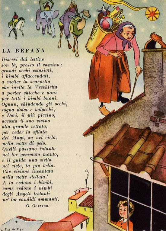 """Befana is the Christmas Witch and she is very old. Thousands of years old. She spends her days sweeping and baking and listening to the whispers of the wind. Image from book """"Il tuo pane: letture per la quarta classe elementare"""" by L. Golfarelli, R. Ammannati, B. G.Bartoli."""