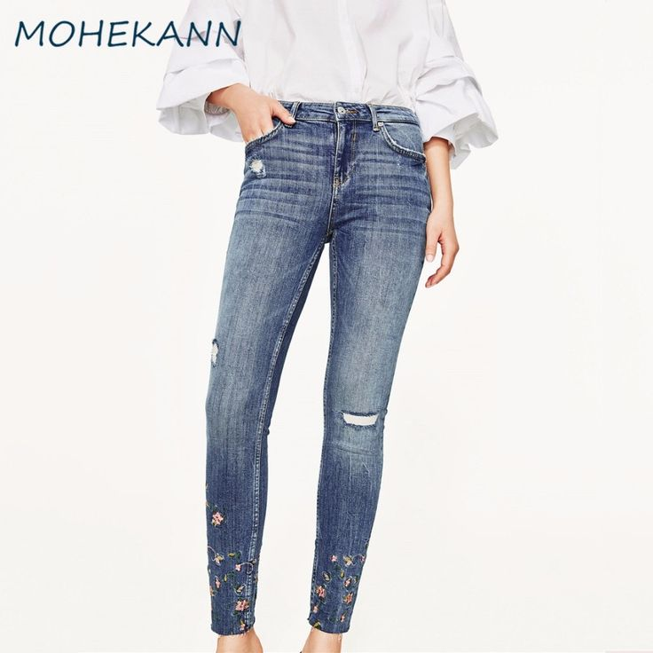 21.71$  Buy now - Mohekann Women Jeans 2017 New Embroidery Ripped Hole Skinny High Waist Jeans Ankle Length Ladies Pencil Pants Denim Trousers   #magazineonlinewebsite