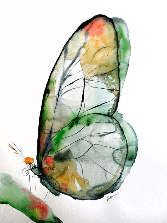 Green butterfly watercolor art, original artwork. Nature wall art for home. Unique gift for birthday. Watercolour picture.