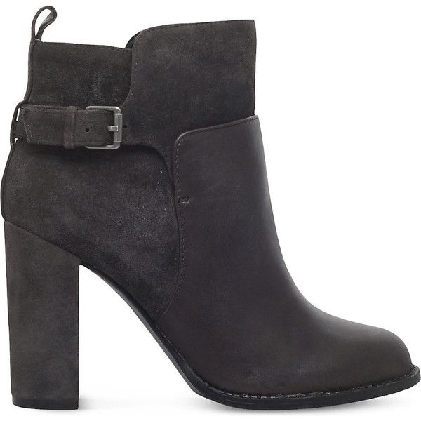NINE WEST Quinah buckled leather boots (765 RON) ❤ liked on Polyvore featuring shoes, boots, almond toe boots, real leather boots, high heeled footwear, leather upper shoes and nine west