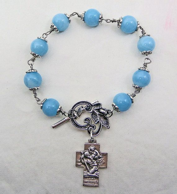 Glass Beads Link Style Bracelet St Christopher Cross Medal