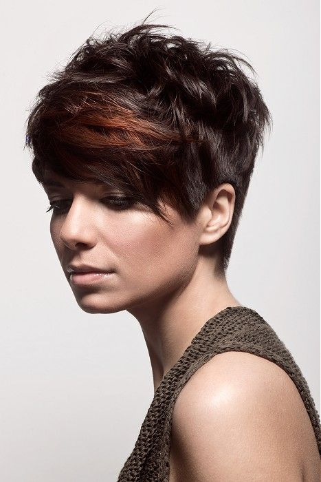 short brown straight coloured multi-tonal messy Womens haircut hairstyles for…