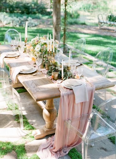rustic use of ghost chairs -- so modern www.visionfurniture.com