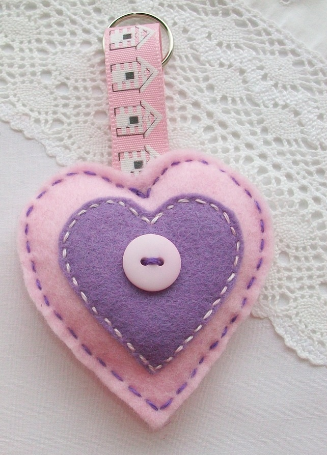 Felt key ring or bag charm - pale pink and lilac heart £2.95
