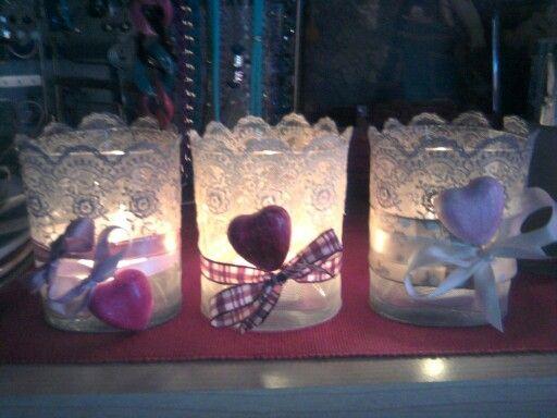 Portacandele con vasetti decorati pizzo cuori di polvere di ceramica nastro astrid 39 s - Bicchieri decorati per natale ...