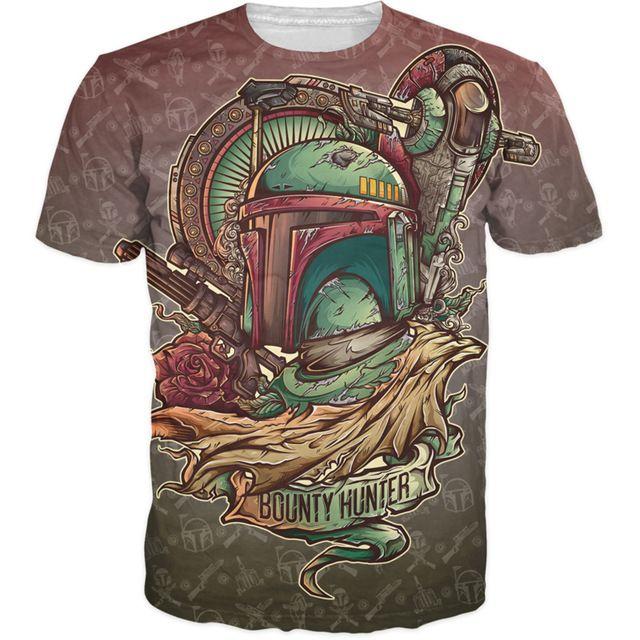 Premiejager T-Shirt kenmerken Cartoon t-shirt Zomer tattoo stijl JML2Art tees galaxy camisetas Voor Vrouwen Mannen