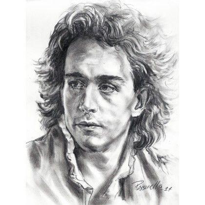 Portrait de l'acteur Tom Hulce tel qu'il apparaît dans le film intitulé -Amadeus-. Une photographie trouvée sur le site http://www.librarising.com a été utilisée en guise de modèle.