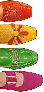 1960s Shoes  - I had all these colors! No high heels ...almost everything was a low, thick block heel...emphasis was on color, the vamp and decoration.