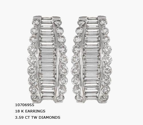 10706955 18 K EARRINGS 3.59 CT TW DIAMONDS