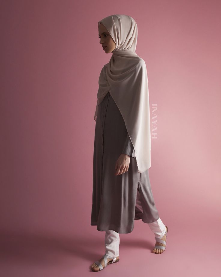 Fashion yourself in crisp shirt-inspired midis in concealed and modest styles. Grey Oversized #Shirt with Slits + White Straight Leg #Trousers Light Mushroom Soft Crepe #Hijab www.inayah.co