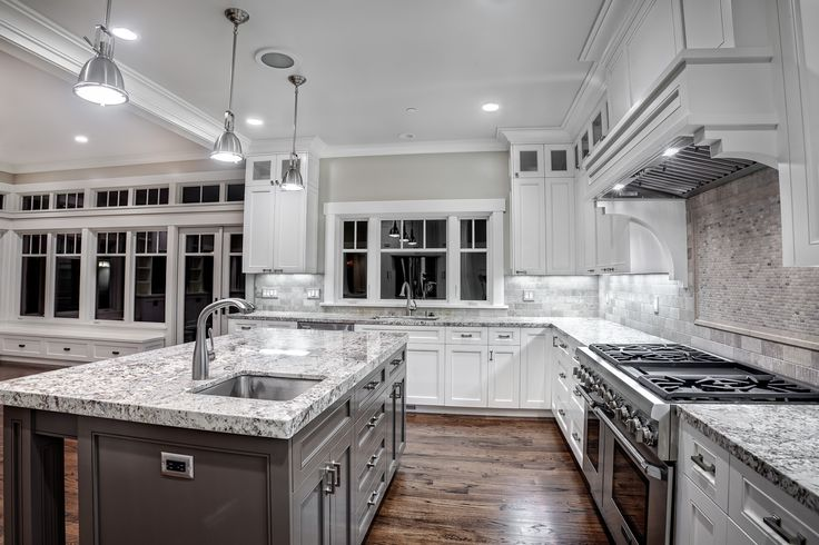 Wonderful Kashmir White Granite Countertops For Contemporary Kitchen Ideas  Together With Metal Pendant Lamps And Wooden Floor | Ideas For The House ...