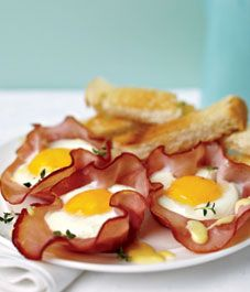 This is Julie's secret breakfest. Recipe: Baked eggs in ham cups (with easy hollandaise sauce)