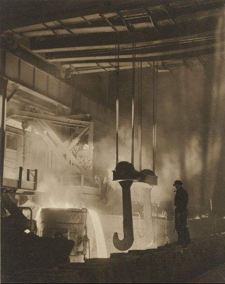 Pouring steel, by Harold Cazneaux, 1934