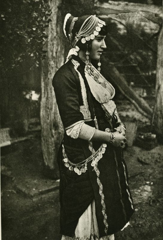 Photo of a married woman wearing the costume of Gidas, Imathia, Macedonia Early 20th century ©Peloponnesian Folklore Foundation, Nafplion, G...