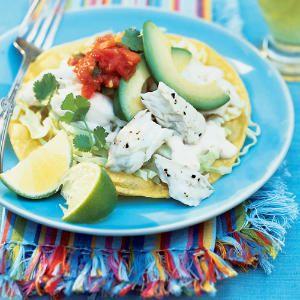 29 shockingly perfect pairings | Halibut Tostadas with Yogurt-Lime Sauce+Pinot Gris | Sunset.com