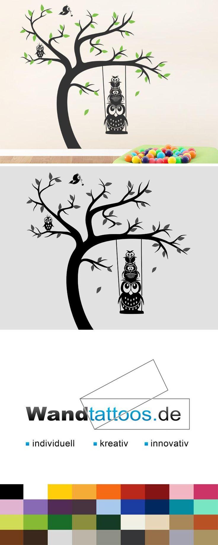 Wandtattoo Baum Eulenschaukel als Idee zur individuellen Wandgestaltung. Einfach Lieblingsfarbe und Größe auswählen. Weitere kreative Anregungen von Wandtattoos.de hier entdecken!