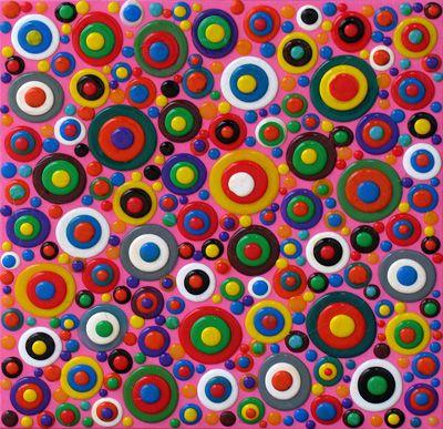 Orbi rosa - colle siliconiche su tela  40 x 40 - 2010
