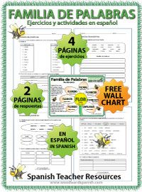 Familia de Palabras - Ejercicios para profesores - Spanish Teacher Resources about Word Families in Spanish - Worksheets