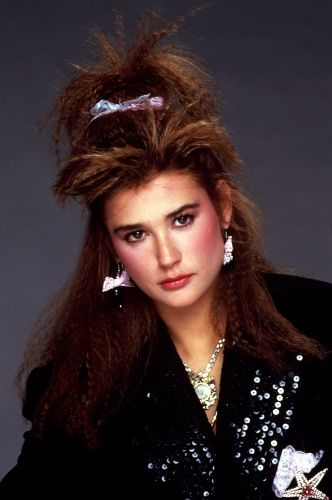 Demi...crimped hair and a member of the Brat pack - so 80s