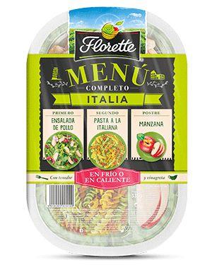 """Florete: Menú Completo """"Italia"""": Ensalada (Escarola rizada, brote de lechuga roja, radicchio, rúcula), pasta estilo italiano, pollo, palito de pan crujiente con semillas de girasol, vinagreta balsámica y ¡manzana!"""
