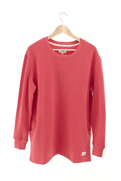 RCM CLOTHING / WOMENS SWEATSHIRT / RED  Sustainable Hemp Wear, 55% hemp 45% organic cotton fleece http://www.rcm-clothing.com/