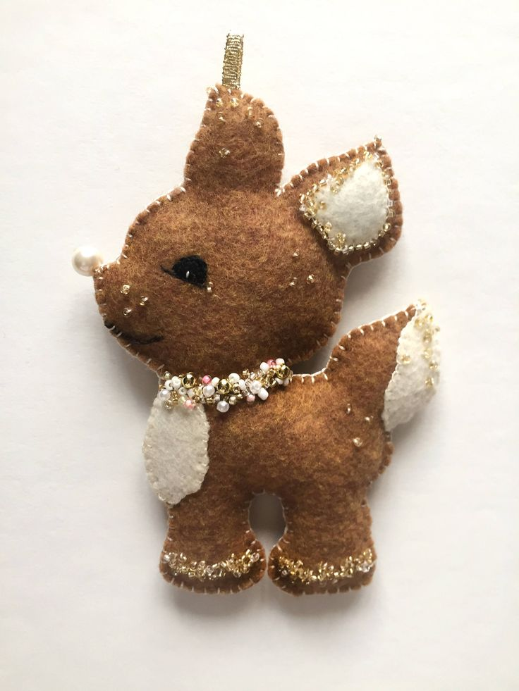 Sparkly Christmas Felt Decoration Reindeer (Deer, Handmade Christmas Tree Felt Ornament, Made with Sparkling Beads, Brown and Beige) by theLilFeltRepublic on Etsy https://www.etsy.com/listing/543606570/sparkly-christmas-felt-decoration