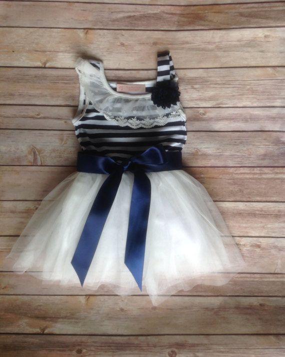 Navy White Toddler Girls Tutu Dress, Vintage Girls Dress, Nautical Dress, Flower Girl Dress, Easter Birthday Dress,Rustic Beach Wedding on Etsy, $37.00