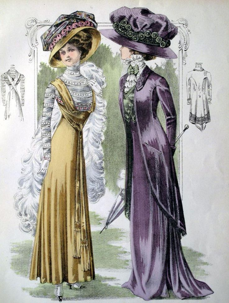 Moda Liberty,cappelli,1909,art Nouveau,dame,modelli,abiti