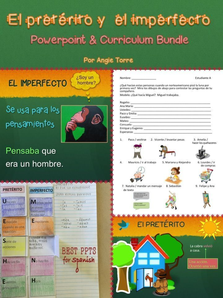 El pretérito vs imperfecto Curriculum Bundle by Angie Torre.  Everything you need to teach the Spanish Imperfect vs. Preterite!  The bundle includes a 96-slide PowerPoint, tests & quizzes, paired activities, Interactive Notebook Activities, 9 TPR Stories & cloze activities, games, rubrics, homework, student handouts, vocabulary & more!