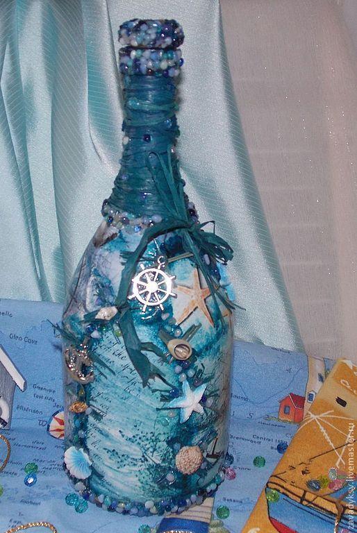 """Декоративная бутылка """"На морском дне"""". - синий,Декупаж,Декоративная бутылка"""