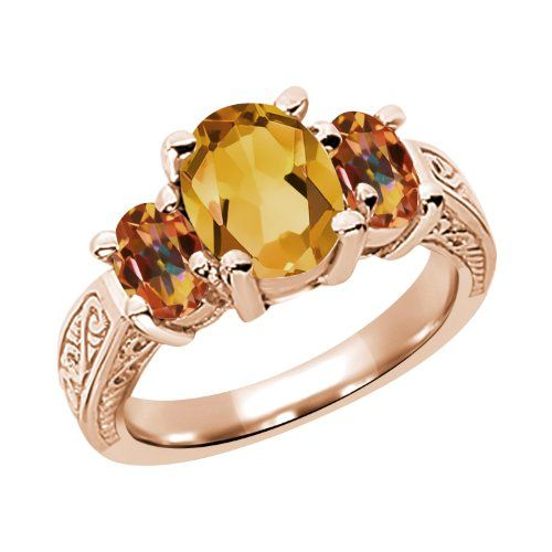 2.25 Ct Yellow Citrine Ecstasy Mystic Topaz 925 Rose Gold Plated Silver 3-Stone Ring | Jewelry from Selena