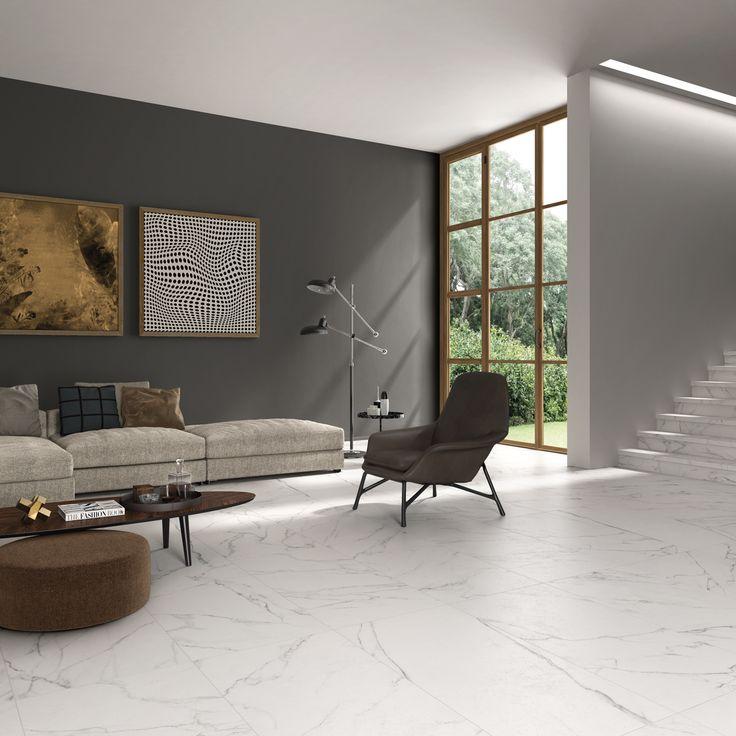 Stupisce per la sua luminosità il pavimento #abkemozioni SENSI Statuario White Sablè 60x120 cm. Per vestire le scale con coerenza estetica il Gradone top Statuario Sablè. #ceramic #tiles #floor #wall #marbleeffect #gresporcellanato #design #homedesign #livingroom #stairs #step #porcelainstoneware #ceramicsofitaly #floortiles #walltiles #designtiles #italiantiles