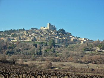 Looking up at Lacoste and its famous castle