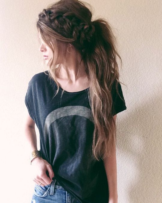 Long hair with plait and moon tee