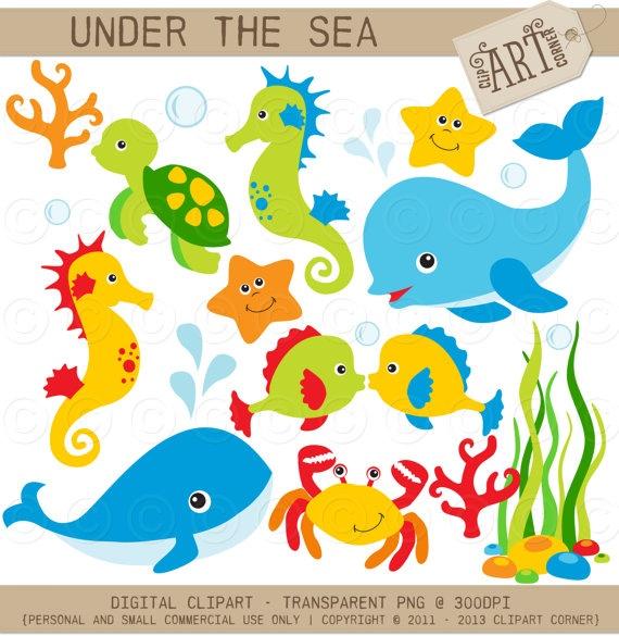 Under the Sea Clip Art / Digital Clipart - Instant Download   Under ...