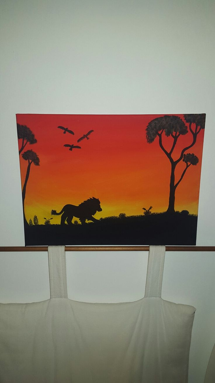 Acrylic painting, lion silhouette