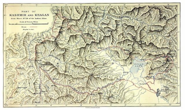 Map of Kashmir from 'Five months in the Himalaya a record of mountain travel in Garhwal and Kashmir' (1909)by A.L. Mumm.