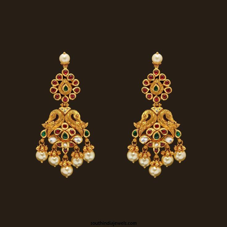 Gold Designer Kundan Earrings From VBJ