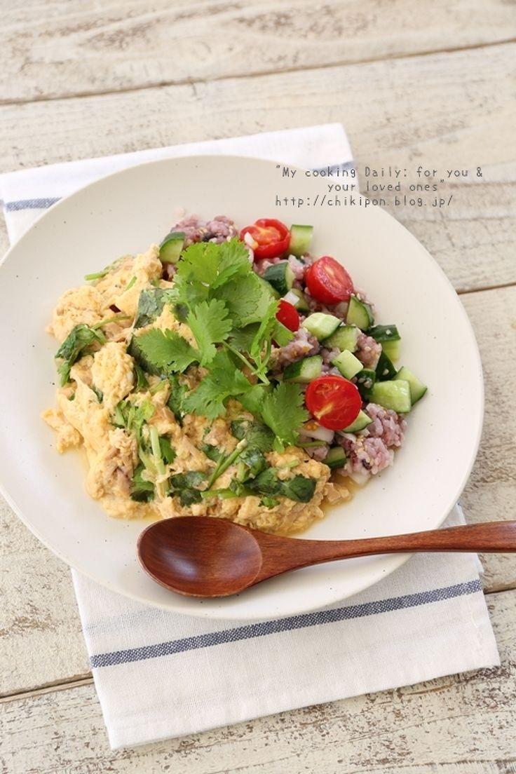 449kcal:ツナとパクチーのオムレツサラダごはん by 中原美香子 | レシピサイト「Nadia | ナディア」プロの料理を無料で検索