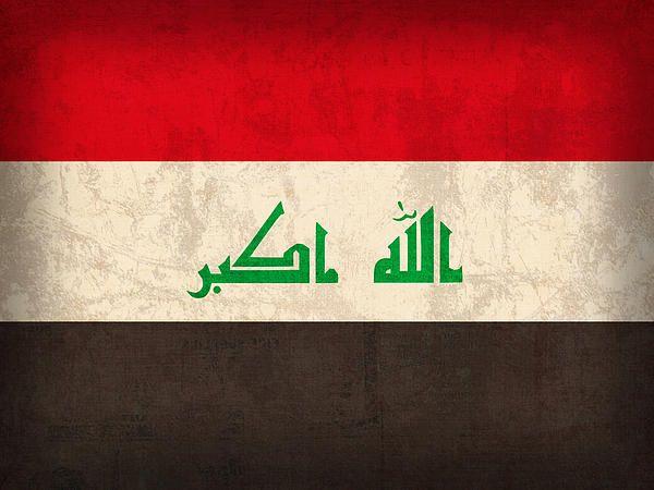 Iraq Flag Vintage Distressed Finish