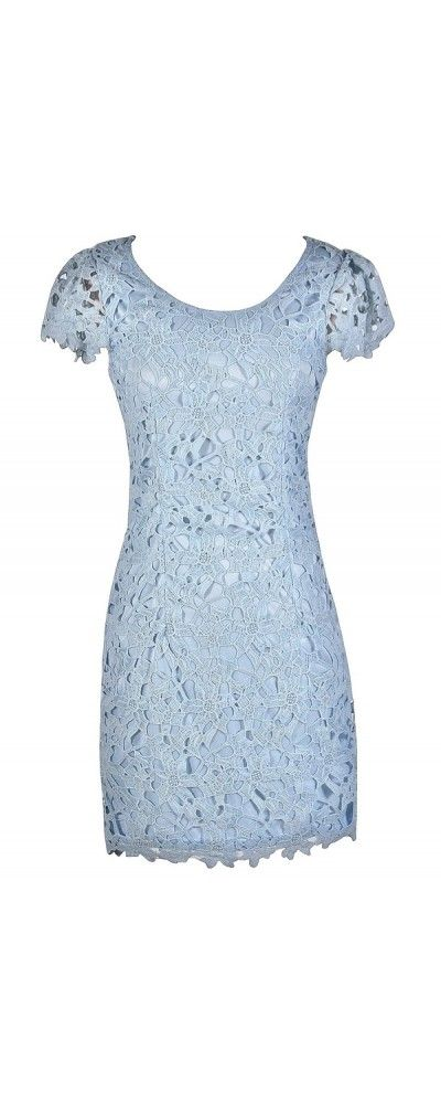 Lily Boutique Aris Crochet Lace Capsleeve Pencil Dress in Baby Blue, $50 www.lilyboutique.com